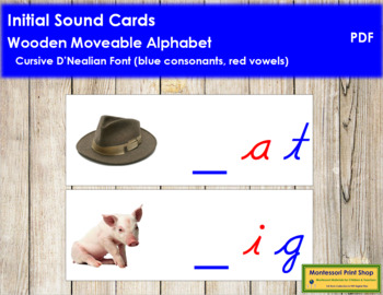 Initial Sound Cards for Wood Moveable Alphabet CURSIVE - Blue/Red