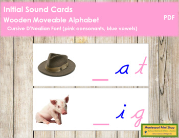 Initial Sound Cards for Wood Moveable Alphabet CURSIVE - Pink/Blue