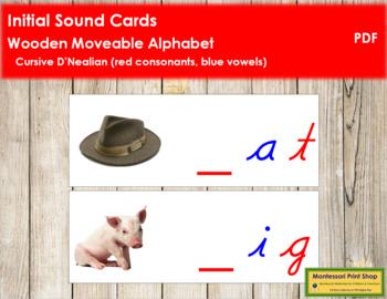 Initial Sound Cards for Wood Moveable Alphabet CURSIVE - Red/Blue