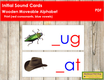 Initial Sound Cards for Wood Moveable Alphabet PRINT - Red/Blue