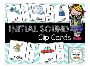 initial sound clip cards by teaching with head heart and soul tpt