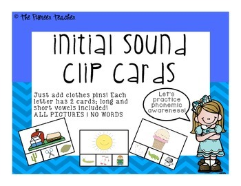 Initial Sound Clip Cards {All Pictures, No Words}
