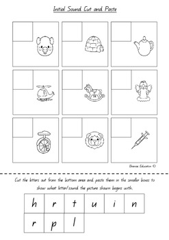 Initial Sound Cut and Paste Worksheets x10