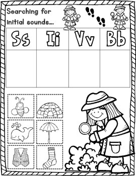 Initial Sound Detective Worksheets:  Cut and Paste Activities for Kindegarten