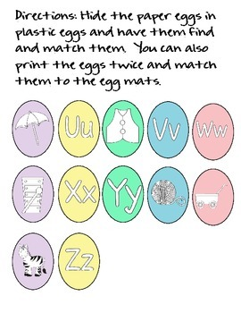 Initial Sound Egg Matching Activity