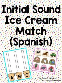 Initial Sound Ice Cream Match -  Spanish