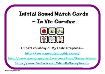 Initial Sound Match cards - vic cursive