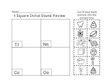 Initial Sound Review: Cut & Glue Printables