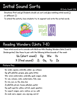 Initial Sound Sorts (Reading Wonders Kindergarten Units 7 & 8)