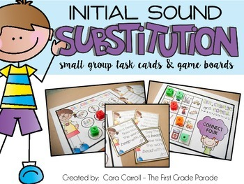 Initial Sound Substitution (Small Group Task Cards & Game Boards)