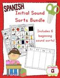 Beginning Sound Recognition BUNDLE: 6 Initial Sound Word Sorts (Spanish)