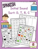 Beginning Sound Recognition: Initial Sound Word Sort - D T R C (Spanish)