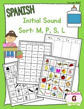 Beginning Sound Recognition: Initial Sound Word Sort - M P S L (Spanish)