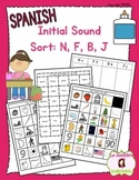 Beginning Sound Recognition: Initial Sound Word Sort - N F B J (Spanish)