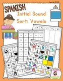 Beginning Sound Recognition: Initial Sound Word Sort - Vowels AEIOU (Spanish)