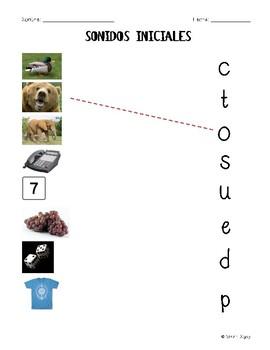 Initial Sound Worksheet - Spanish