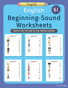 5 Match Picture to Initial Sound Worksheets (English)