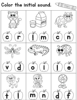 Initial Sound Worksheets for Kindergarten: Cut and Paste   TpT