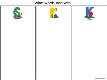 Initial Sound/Letter Sort File Folder Activity