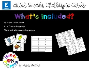 Initial Sounds Clothespin Cards - English Version