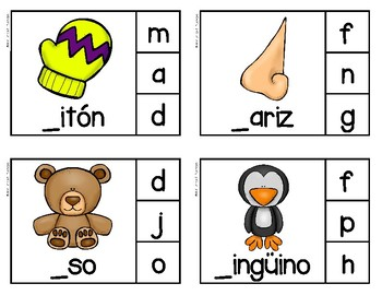 Initial Sounds Clothespin Cards - Spanish Version