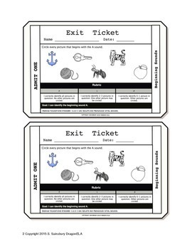 Initial Sounds Exit Tickets