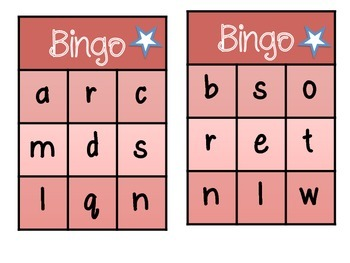 English Letter BINGO - Initial Sounds
