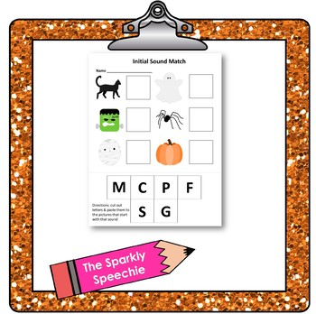 Initial Sounds Matching Handout - Halloween Themed!