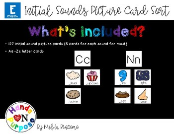 Initial Sounds Picture Card Sort - English Version