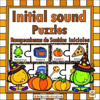 Initial Sounds Puzzles-Rompecabezas de sonidos iniciales-Halloween Edition.