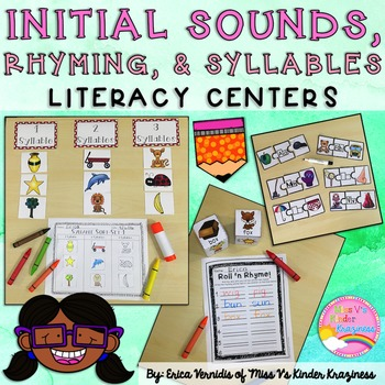 Initial Sounds, Rhyming Words, and Syllables Literacy Centers