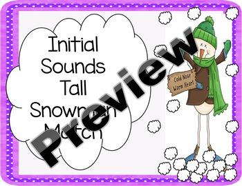 Initial Sounds Snowman Match