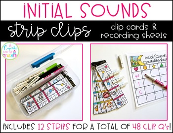 Initial Sounds Clip Cards (Strip Clips & Recording Sheets)
