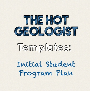 Initial Student Program Plan Template