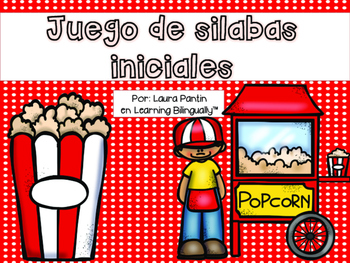 Initial Syllables Game in Spanish- Popcorn Theme