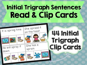 Initial Trigraphs Sentences Read & Clip Cards