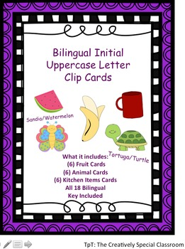 Bilingual Initial Uppercase Letter Clip Cards