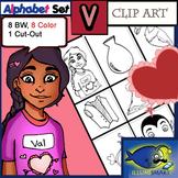 "Initial ""V"" Kindergarten Clip-Art! 8 BW, 8 Color, 1 Cut-Out Sheet"