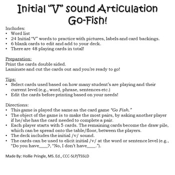 "Initial ""V"" Sound Articulation Go-Fish Cards"