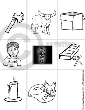 "Initial ""X""/ Ending "" X"" Kindergarten Clip-Art! 8 BW, 8 Color, 1 Cut-Out Sheet"