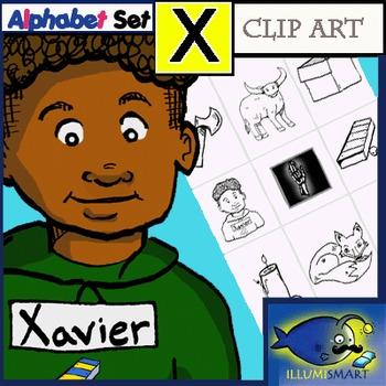"""Initial """"X""""/ Ending """" X"""" Kindergarten Clip-Art! 8 BW, 8 Co"""