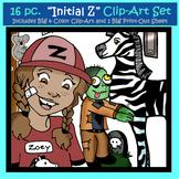 "Initial ""Z"" Kindergarten Clip-Art! 8 BW, 8 Color, 1 Cut-Out Sheet"