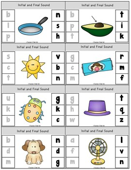 Initial and Final Sounds Clip It Task Cards and Worksheets Using CVC Words