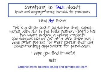 Initial /b/ Poster - Preschool Speech Therapy