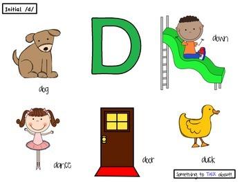 Initial /d/ Poster - Preschool Speech Therapy