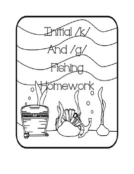 "Initial g and k words speech ""fishing"" homework freebie"