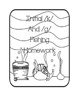 "Initial g and k words speech ""fishing"" homework freebie"