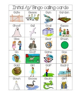 Speech Therapy: Initial /g/ word bingo