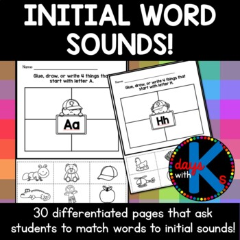 initial letter sound worksheets differentiated write draw glue cute. Black Bedroom Furniture Sets. Home Design Ideas