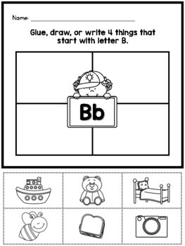 Initial letter sound worksheets {Differentiated write, draw, glue} - CUTE!!